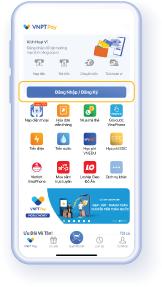 Bước 1: Mở ứng dụng VNPT Pay, chọn 'Đăng ký'