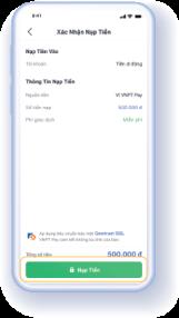 Bước 3.1: Nếu nguồn tiền sử dụng là Ví VNPT Pay hệ thống hiển thị màn hình xác nhận nạp tiền. Người dùng nhấn 'Nạp Tiền' và nhập mã OTP để hoàn tất
