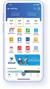 Bước 1: Từ Trang chủ ứng dụng VNPT Pay, chọn 'Rút tiền'