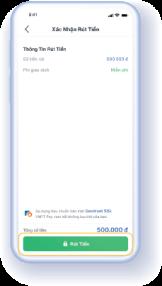 Bước 3.1: Nếu người dùng rút tiền về Ví VNPT Pay, hệ thống hiển thị màn hình xác nhận rút tiền. Người dùng nhấn 'Rút Tiền' và nhập mã OTP để hoàn tất