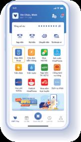 Bước 1: Chọn dịch vụ cần thanh toán trên màn hình trang chủ hoặc trong menu dịch vụ